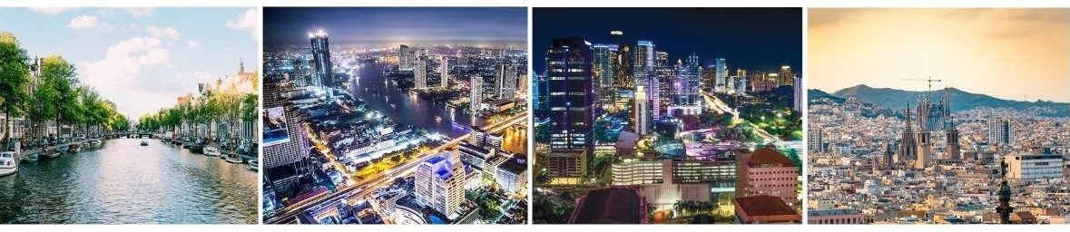 Images of our head offices across the globe including Amsterdam, Bangkok, Jakarta, and Barcelona.